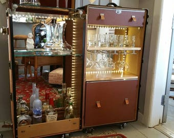 vintage hartman trip lex xxx steamer trunk reimagined into a bar or wine bar i