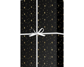 Gold Metallic Stars Gift Wrap - Hand Drawn Gold Star Pattern Wrapping Paper - Celebration Gift Wrap