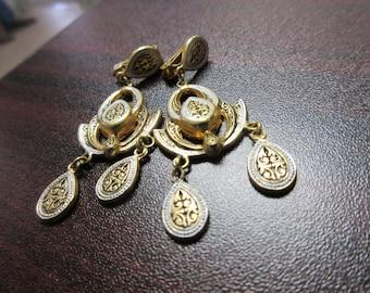 Damascene Dangle Clip On Earrings