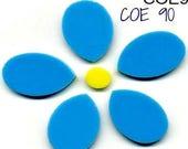 Spring Sale BULLSEYE COE 90 FLOWER 6 Pc. Fusible Glass Blue Opaque Fusing & Mosaic Supplies