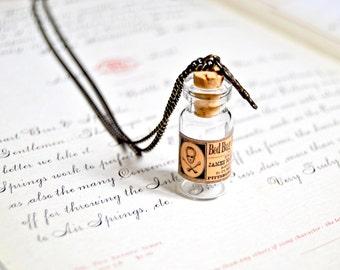Vintage inspired bed bug poison bottle necklace, vial necklace, vintage apothecary jar