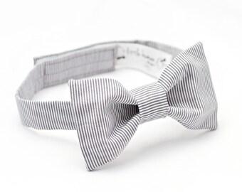 Grey Bow Tie - Grey White Stripe Bow Tie - Grey Baby Boy Bow Tie, Infant Bow Tie, Grey Boy Bow Tie, Grey Bowtie, Baby Bowties, Gray Bow Tie