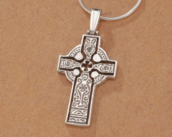 "Sterling Silver Celtic Cross Pendant, Hand Cut Celtic Cross Medallion, Celtic Cross Jewelry, 1"" in Diameter, ( # 776BS )"