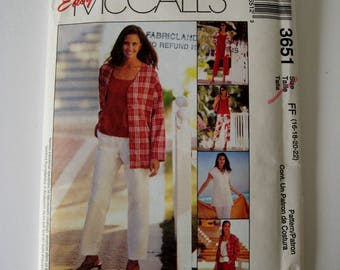 McCalls 3651 Sewing Pattern Unlined Jacket Vest Pullover Sleeveless Top Capri Pants Shorts with Pockets Plus Size 16 18 20 22 UNCUT