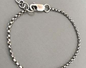 The Finest Silver - on the Market - OXIDIZED Argentium® Silver 2.2mm Rolo Chain, w/lobster clasp, 6.5, 7, 7.5, 8, 8.5, 9, 9.5 -12, 14, 16...