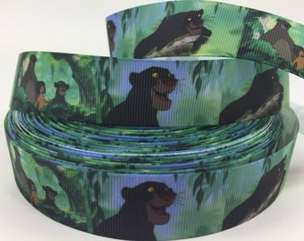 By the Yard Printed Jungle Book Bagheera Cartoon Disney 1 Inch Grosgrain Ribbon Great for Hair Bows Crafts Sewing Scrapbooking Lisa