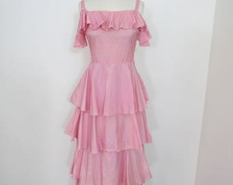 1930s Pink Dress with Layered Skirt and Bodice Ruffle