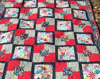 Twin Bed Quilt - Floral Bed Quilt - Handmade Quilt - Square Quilt - Large Lap Quilt - Quiltsy Handmade