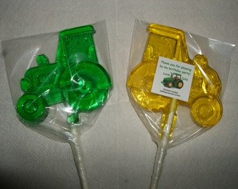 1 dz Hard Candy Tractor Shaped Lollipop for Deer Birthday Party Favors w/ Personalized Back Labels