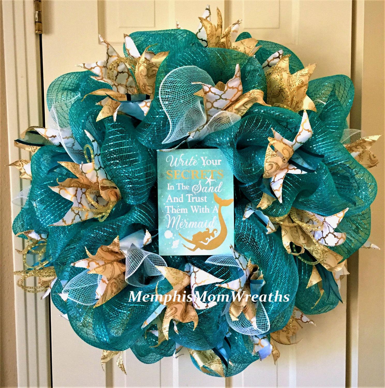 Teal Mermaid Deco Mesh Wreath Deco Mesh Wreath Mermaid