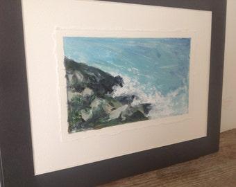 Down to the rocks, original acrylic on watercolour