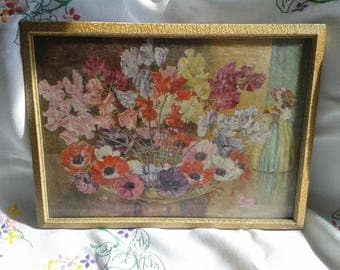 Vase of Sweetpeas and Crinoline Lady Vintage Print