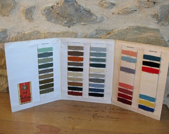 yarn sample cards - vintage French shetland wool color cards