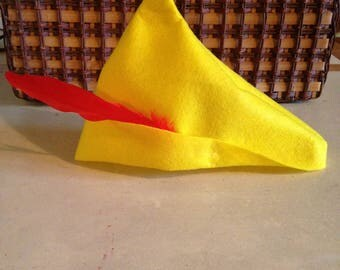 Robin Hood Peter Pan Yellow Felt Hat Real Red Feather
