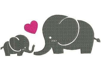 Mother's Love ~ ELEPHANTS ~ Baby and Mom Elephant Machine Embroidery Designs - Applique Embroidery Design 22