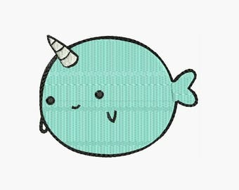 ADORABLE NARWHAL Machine Embroidery Designs  - Applique Instant Download Filled Stitches Design 90