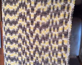 Custon Crochet Knit Baby Blanket yellow gray and white