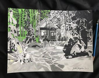 Snow Covered Cabin In the Forest Original Drawing, Wall Art, Abstract
