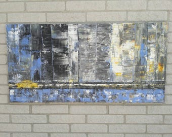 Large City Painting Original Abstract Acrylic Painting Urban City Skyline Arts And Collectibles City Living 24x48 by jillsfineart
