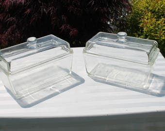 Pair of Vintage Westinghouse Clear Glass Refrigerator Dishes with Lids Loaf Casserole Dish (LF0514).