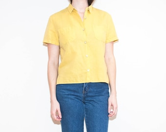 90s yellow linen button-up / short sleeve pockets blouse / size M