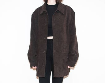 on sale - 90s dark brown velveteen jacket / oversized button-up chenille fall coat / size XL / XXL