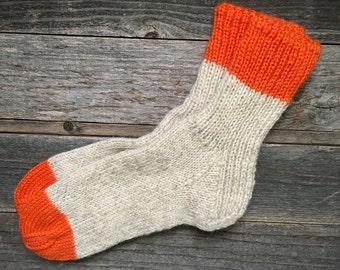 Hand Knit Off-White & Orange Wool Socks Men/Women, Size 9-10-11-12