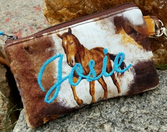 Horse Coin Purse, Small Zipper Wallet, Personalized Coin Purse