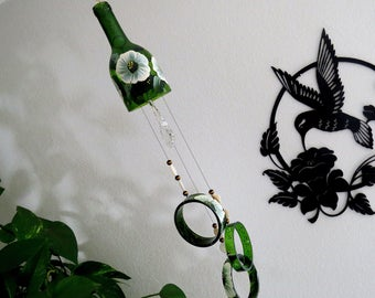 Wine Bottle Windchime, Green Glass Wind Chime, White And Green Flowers, Yard  Art