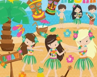 80% OFF SALE Luau party clipart commercial use, vector graphics, digital clip art, digital images  - CL656