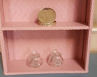 Vintage Pink Wicker Bathroom shelf Storage Vainty