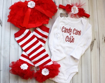 BABY FIRST CHRISTMAS-Red and White-Christmas Leg warmers set-Ruffled Leg Warmers, Red and White Stripe-Leg Warmers-Shabby Chic-1st Christmas