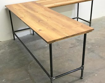 Wayne Corner Desk Solid Wood and Steel Pipe Modern Industrial Vintage Furniture