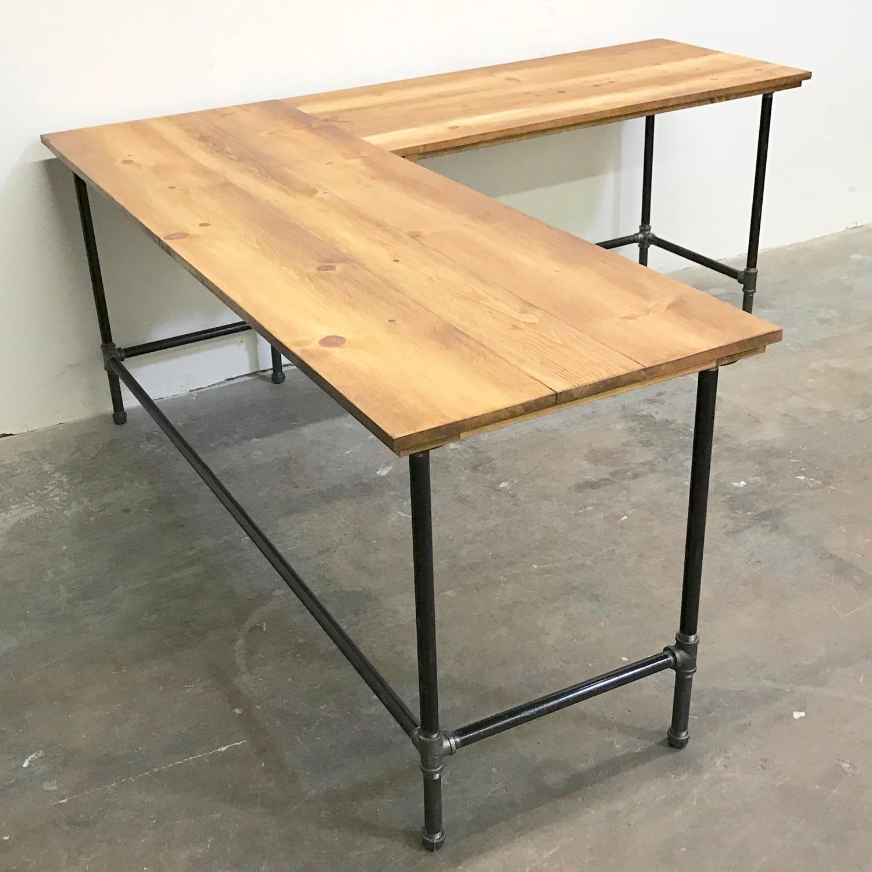 Industrial Style Steel Pipe Pine Wood Tables Desks A: Wayne Corner Desk Solid Wood And Steel Pipe Modern Industrial