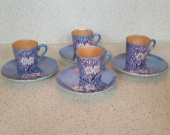 Cherry Blossom Luster Demitasse Cups and Saucers - Set of 4