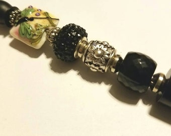 Beaded Black Pen made with a Dragonfly Lampwork Bead and Black Beads