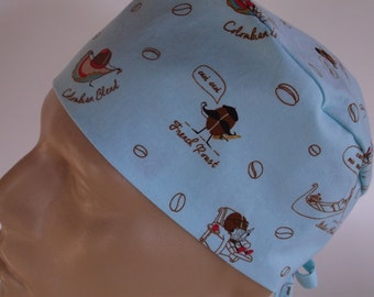 Coffee Beans -  Men's Bakers Hat,Surgical Scrub Hat  with sweatband option, scrub cap, bakers hat,39-100