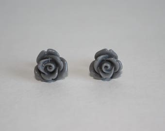 I Am Worthy Sophisticated 10mm Gray Rose Earrings W/ Surgical Stainless Steel Posts & Backs