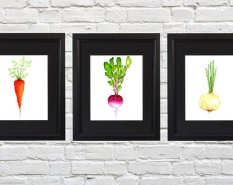 Vegetable Painting - Watercolor Print - Food Art - Veggie Art - Set of Three, Food Painting, Kitchen Art, Veggie Print - Radish Picture