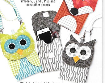 Fox and Owl Cell Phone and Eyeglass Cases Sewing Pattern by Cotton Ginnys, New Uncut, Free US Shipping