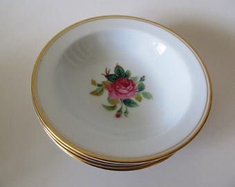 Four Noritake Sharon Fruit, Dessert Bowls, 3057, Japan, Rose Pattern China, Gold Trim