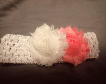 Shabby Chic Rose Crochet Soft, Wide Elastic Headband fits Newborns through Adults White and Pink Roses