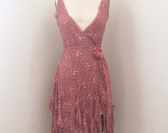 Vintage Pink Lace Sequin Wrap Dress