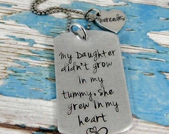 Adoption necklace, My Daughter didnt grow in my tummy, she grew in my heart.