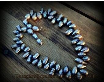 Sale Tahitian Baroque Pearls Iridescent Black Pearls Baroque Pearls 16 Inch Bead Strand Silver Pearls Beading Supplies Choker Length Pearls