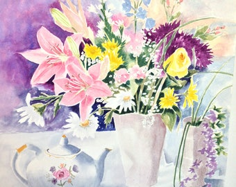 Still life watercolor, Pink Lilies, Daisies and One Yellow Rose