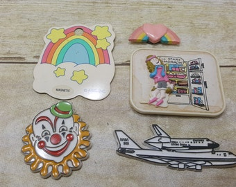 Set of 5 Vintage Magnets, fun kitschy, silly, rainbow, 1970s-1980s