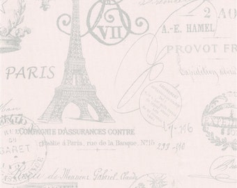 Pick Your Yardage Pink/Gray Script Paris Print 100% Cotton Fabric