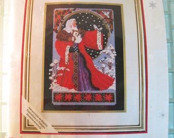 Christmas Santa St. Nicholas Needlepoint Kit by Needle Treasures with Gold Fibers