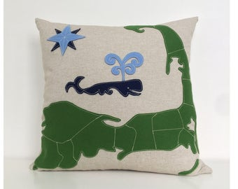 Cape Cod Map & Spouting Whale Pillow in Green and Blue Felt Applique on Oatmeal Linen